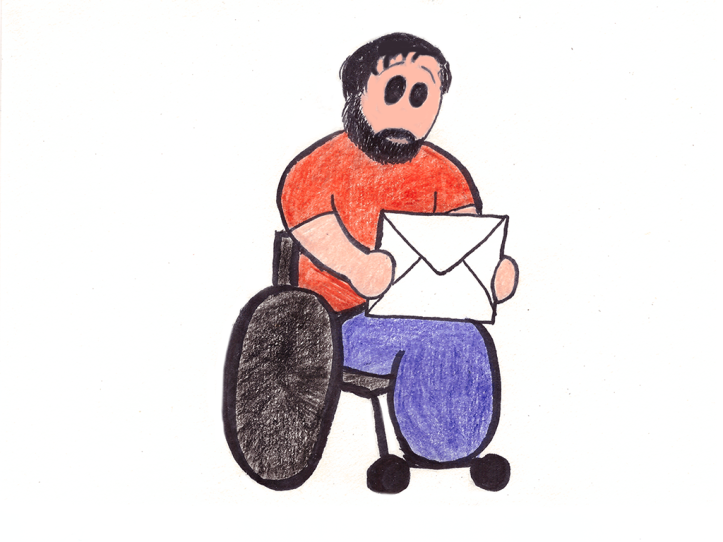 Cartoon of Derek in his wheelchair looking at an oversized envelope