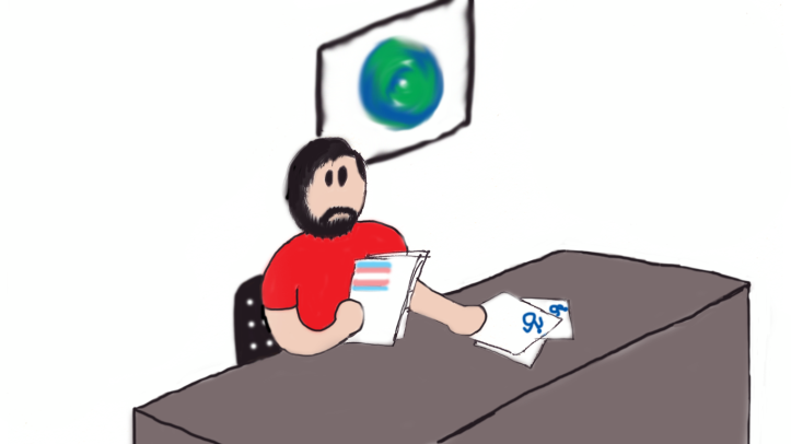 Image description: Cartoon of Derek sitting at a newsreader's desk