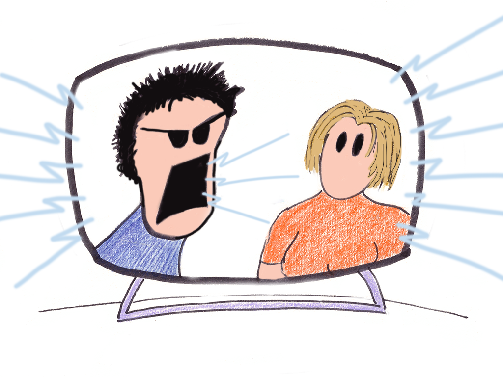 Image description: Cartoon of television screen showing two people; one is shouting, the other is wide-eyed and leaning back slightly