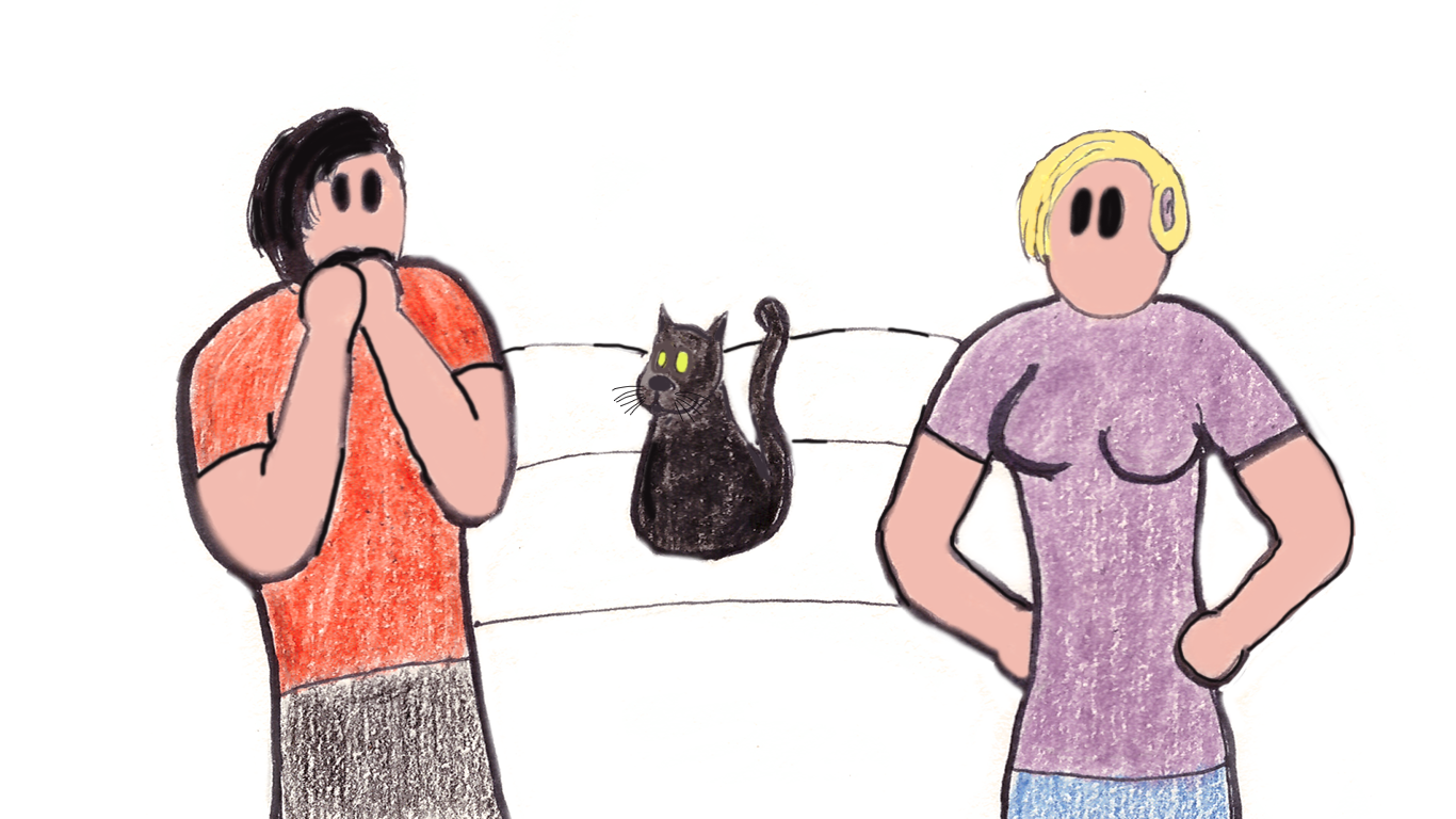 Image description: Cartoon of Derek looking shocked with his hands to his mouth, as if he's just said something wrong; Lucy the cat and Veronica are looking at him; Veronica has her hands on her hips.