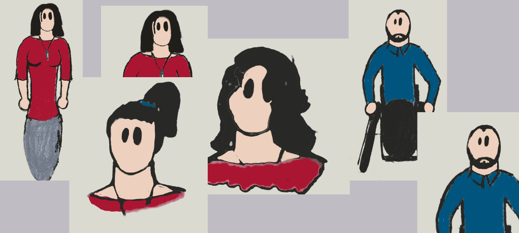 Drawings of Veronica, who has long black hair in three hairstyles and is wearing a red top, and Derek, who has very short hair and a full beard and is wearing a blue shirt